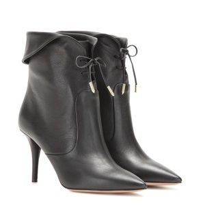 Aquazurra Tribeca Black cuffed leather Booties